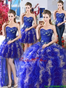 Elegant Royal Blue and Champagne Detachable Sweet 16 Dresses with Appliques and Ruffles