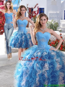 Gorgeous Beaded and Ruffled Detachable Quinceanera Dresses in Blue and White