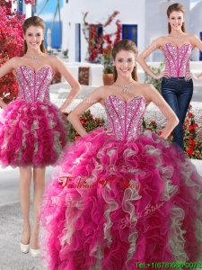 Gorgeous Hot Pink and White Detachable Quinceanera Dresses with Beading and Ruffles