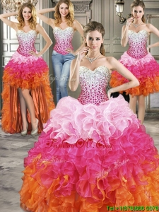 Inexpensive Rainbow Organza Detachable Quinceanera Dresses with Beading and Ruffles