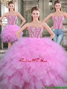Lovely Beaded and Ruffled Tulle Detachable Quinceanera Dresses in Lilac