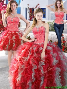 Modest Organza Detachable Quinceanera Dresses with Beading and Ruffles