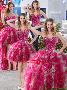 Perfect Big Puffy Organza Detachable Quinceanera Dresses with Beading and Ruffles