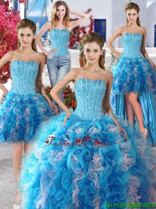 Romantic Beaded and Ruffled Detachable Quinceanera Dresses in Organza