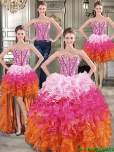 Visible Boning Beaded Bodice and Ruffled Detachable Quinceanera Dresses in Rainbow