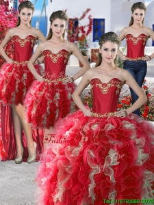 Wonderful Red and Champagne Organza Detachable Quinceanera Dresses with Appliques and Ruffles