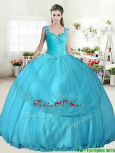 Best Straps Beaded and Applique Quinceanera Dress in Aqua Blue