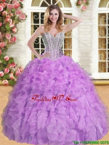 Discount Beaded and Ruffled Quinceanera Dress in Lilac for Spring