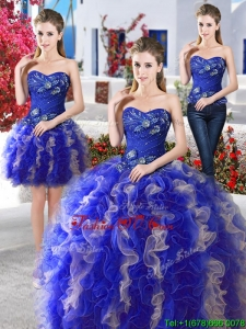 Hot Sale Really Puffy Organza Detachable Sweet 16 Dresses with Appliques and Ruffles