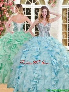 Luxurious Big Puffy Light Blue Quinceanera Dress with Beading and Ruffles
