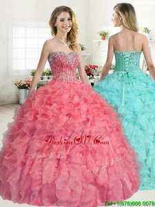 Perfect Beaded and Ruffled Quinceanera Dress in Coral Red