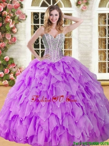 Visible Boning Beaded and Ruffled Quinceanera Dress in Eggplant Purple