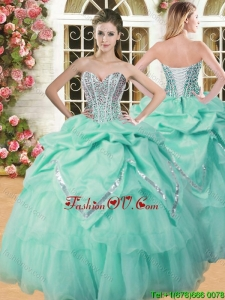 Inexpensive Beaded and Pick Ups Quinceanera Dress in Apple Green