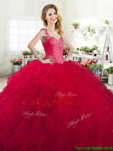 Luxurious Straps Beaded and Ruffled Quinceanera Dress in Red
