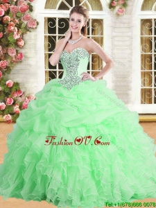 Pretty Applique and Ruffled Quinceanera Dress in Spring Green for Spring