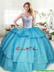 Sweet Beaded and Ruffled Layers Quinceanera Dress in Aqua Blue