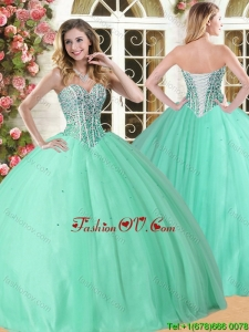 Wonderful Beaded Quinceanera Dress in Apple Green for Spring