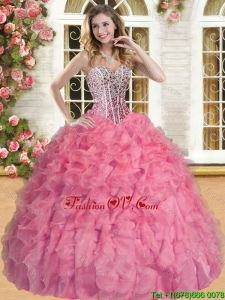 Wonderful Beaded and Ruffled Coral Red Quinceanera Gown in Organza