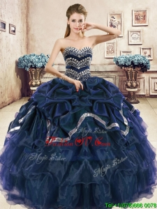 Modest Navy Blue Organza Quinceanera Dress with Beading and Pick Ups