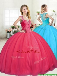 Lovely Straps Big Puffy Beading Quinceanera Dress in Coral Red