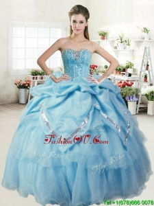 Perfect Beaded and Pick Ups Sweet 16 Dress in Baby Blue