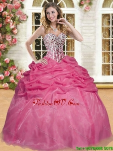 Best Selling Coral Red Sweet 16 Dress with Beading and Pick Ups