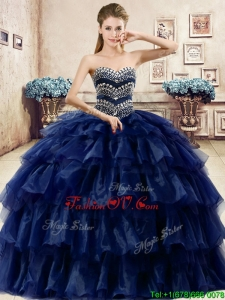 Cheap Beaded and Ruffled Layers Quinceanera Dress in Navy Blue
