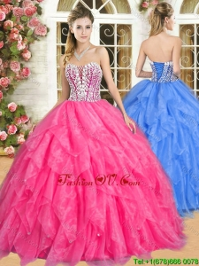 Gorgeous Hot Pink Quinceanera Dress with Beading and Ruffles