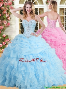 Inexpensive Applique and Ruffled Sweet 16 Dress in Baby Blue