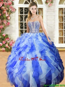 New Royal Blue and White Quinceanera Dress with Beading and Ruffles