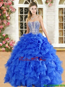 Popular Organza Royal Blue Quinceanera Gown with Beading and Ruffles