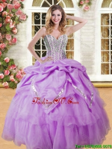Pretty Beaded and Pick Ups Quinceanera Dress in Lilac for Spring