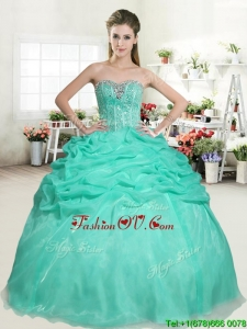 Romantic Apple Green Sweet 16 Dress with Beading and Pick Up