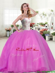Wonderful Beaded Really Puffy Quinceanera Dress in Hot P