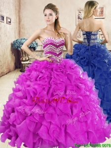 Wonderful Big Puffy Quinceanera Dress with Beading and Ruffles
