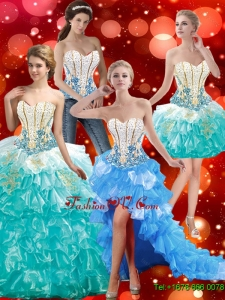 2015 Discount Sweetheart Quinceanera Dresses with Beading and Ruffles
