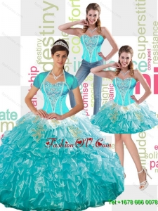 2015 Summer Gorgeous Beaded Aqua Blue Quinceanera Dress with Ruffled Layers and Appliques