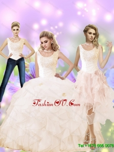 Classical 2015 Fall High Neck Quinceanera Dress with Beading and Ruffles