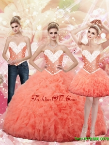 2015 Fall New Style Sweetheart Watermelon Quinceanera Dresses with Beading
