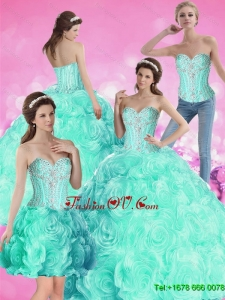 2015 Pretty Ball Gown Beaded Quinceanera Dresses with Rolling Flowers