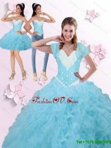 2015 Summer Brand New Beaded and Ruffles Quinceanera Dresses in Blue