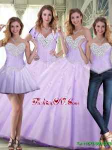 Elegant 2015 Summer Beaded and Appliques Lavender Quinceanera Dresses