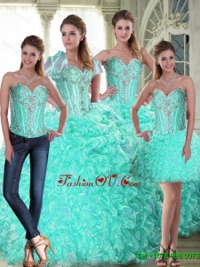 Latest Brush Train Ball Gown Quinceanera Dresses with Beading and Ruffles For 2015 Summer