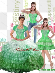 Top Seller 2015 Summer Ball Gown Quinceanera Dress with Ruffled Layers