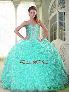 Top Seller Sweetheart Brush Train Apple Green Quinceanera Dresses with Beading For 2015 Summer