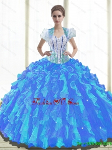 2015 Fall Luxurious Sweetheart Quinceanera Dresses with Beading and Ruffles