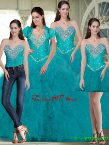 2015 Fall Luxurious Sweetheart Quinceanera Dresses with Beading and Ruffles in Turquoise
