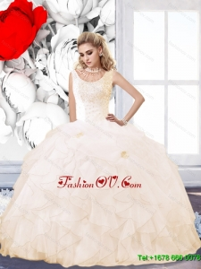 Elegant 2015 Summer Champagne Quinceanera Dress with Beading and Ruffles