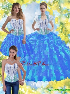 Elegant Ball Gown Quinceanera Dresses with Beading and Ruffles For 2015 Summer