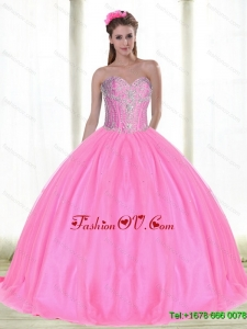 Elegant Sweetheart Quinceanera Dresses with Beading in Pink For 2015 Summer